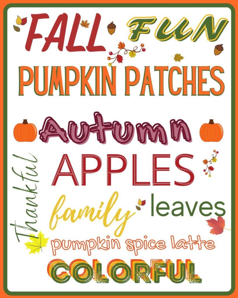 Autumn Subway Art Free Printable