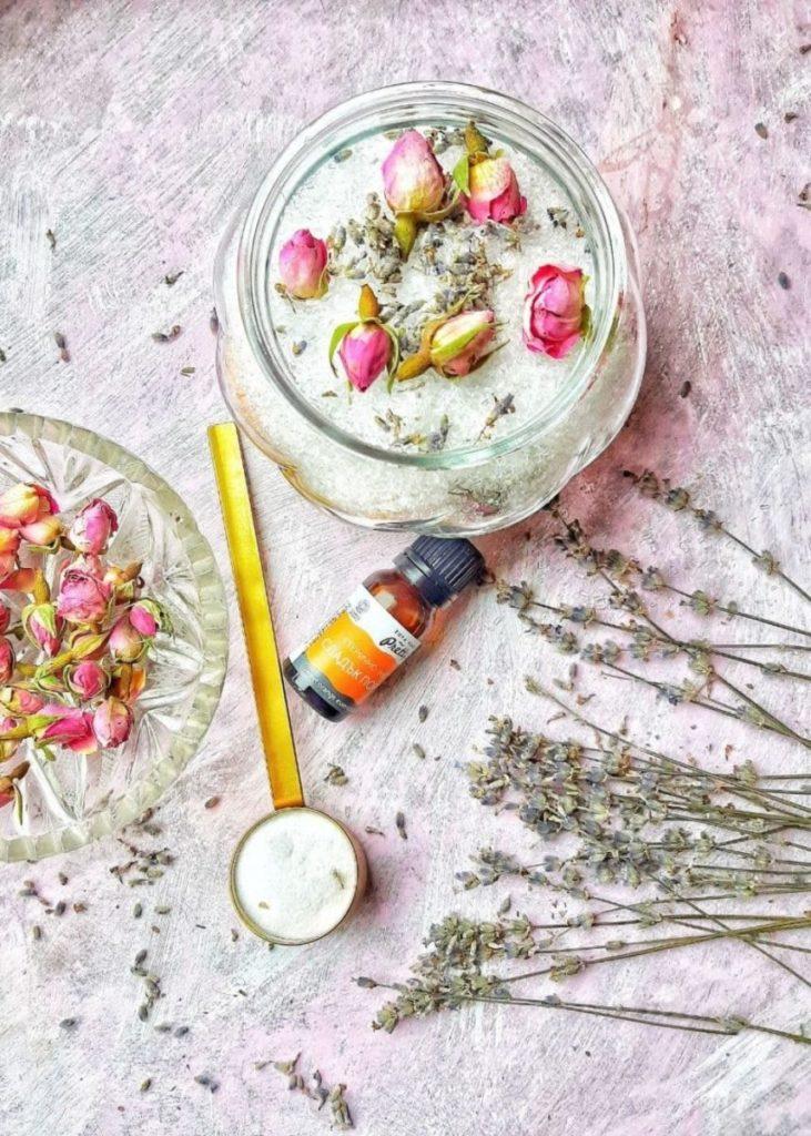 DIY bath salts with essential oils